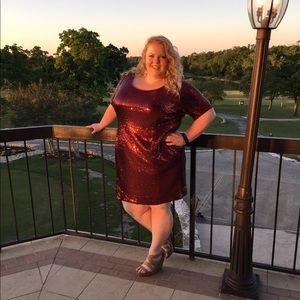 Joanna Hope Sequins Maroon shift dress